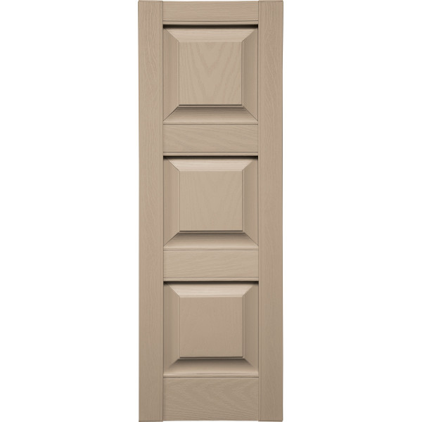 Specialty Raised Three Equal Panel Shutters w/ Shutter-Lok fasteners & color-matched screws (Pair)