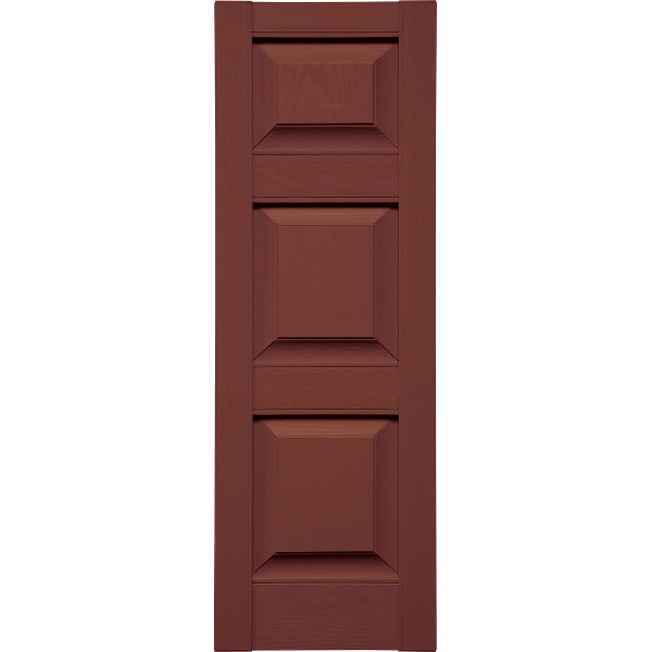 Specialty Raised Three Panels Small Top Shutters w/ Shutter-Lok fasteners & color-matched screws (Pair)