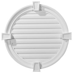 "GVRO24DK 24""W x 24""H x 2-1/8""P Round Gable Vent with Keystones,Decorative"
