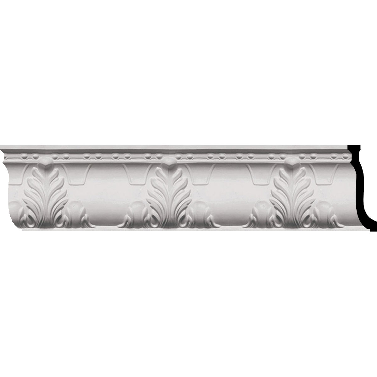 """MLD09X03X10AL 9-1/4""""H x 3-3/4""""H x 9-7/8""""F x 96""""L Alexandria Acanthus Leaf and Ribbons Crown Molding"""