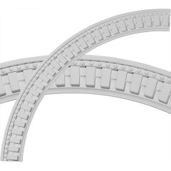 "CR47DT 47""OD x 40-1/2""ID x 3-1/4""W x 1-1/8""P Dentil and Bead Ceiling Ring (1/4 of complete circle)"