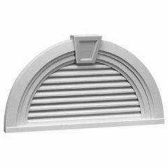 "FHRLV36X18MTK HALF ROUND LOUVER, Fypon Functional 36"" x 18-9/16"" W/Decorative Trim and"