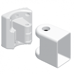 4407040MCB Bottom Rail Multi-Angle Connector & Pivot Bracket [White] (1 Rod & 2 Caps)