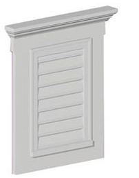 "FLV18X24-4F6WCH VERTICAL LOUVER, Fypon Functional 33-1/2 "" H x 26-1/2"" W/Trim and Window"