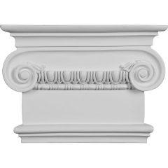 """CAP09X07X03RI 7 1/2""""W x 8 1/2""""H x 2 1/2""""P Classic Ionic Large Onlay Capital (Fits Pilasters up to 5 1/4""""W x 1 1/8""""D)"""