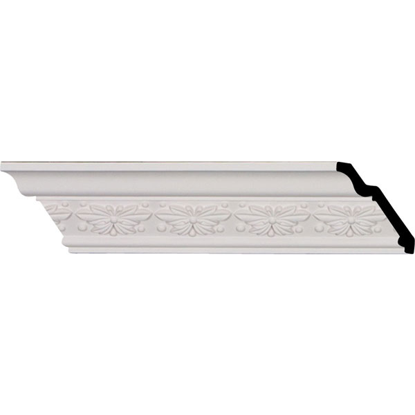 """2 1/2""""H x 2 1/2""""P x 3 5/8""""F x 96 1/8""""L, (2 1/2"""" Repeat), Butterfly Crown Moulding (12 Inch Sample of MLD02X02X03BT)"""