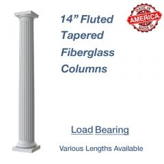 14″ Round Fluted Tapered Fiberglass Columns