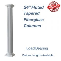 24″ Round Fluted Tapered Fiberglass Columns